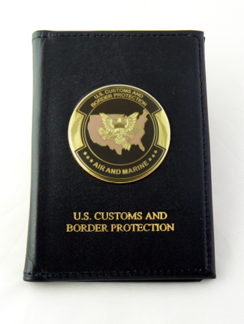 Air and Marine Operations Embossed Dress Leather Badge and Credential wallet with Logo Medallion