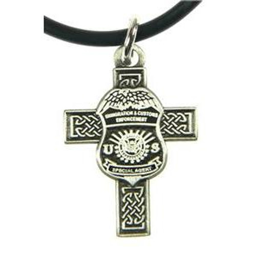 Immigration and Customs Enforcement Celtic Cross and ICE Agent Mini Badge Necklace in Antique Silver