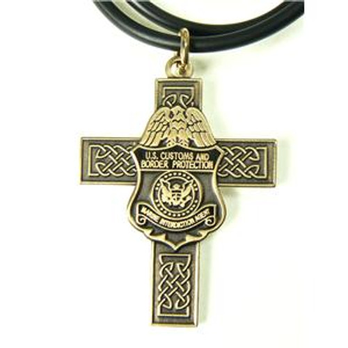 CBP Air and Marine Celtic Cross and Marine Interdiction Agent Mini Badge Necklace in Antique Gold
