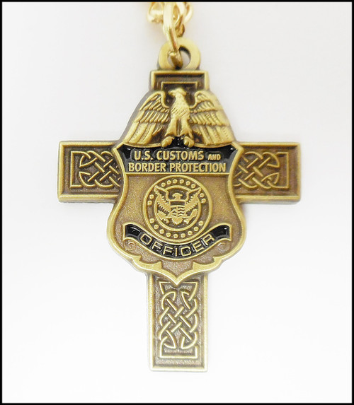 Antique Gold Customs and Border Protection Mini Badge Celtic Cross Necklace
