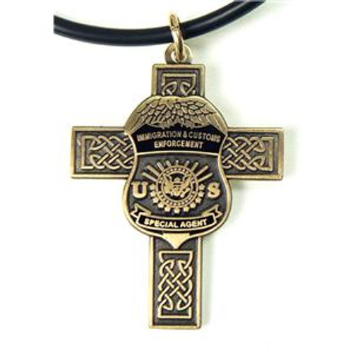 Immigration and Customs Enforcement Celtic Cross and ICE Agent Mini Badge Necklace in Antique Gold