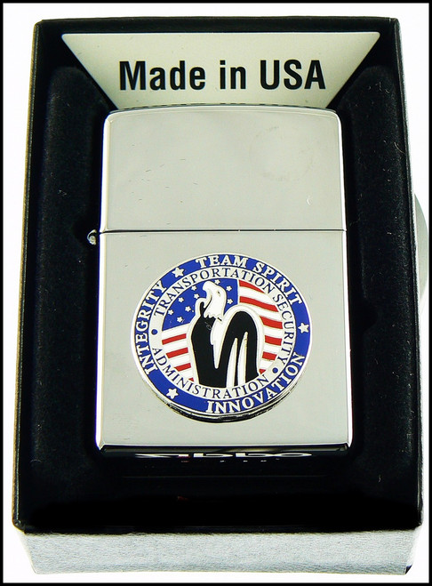 Transportation Security Administration Chrome Cigarette Lighter with Team Spirit Patch