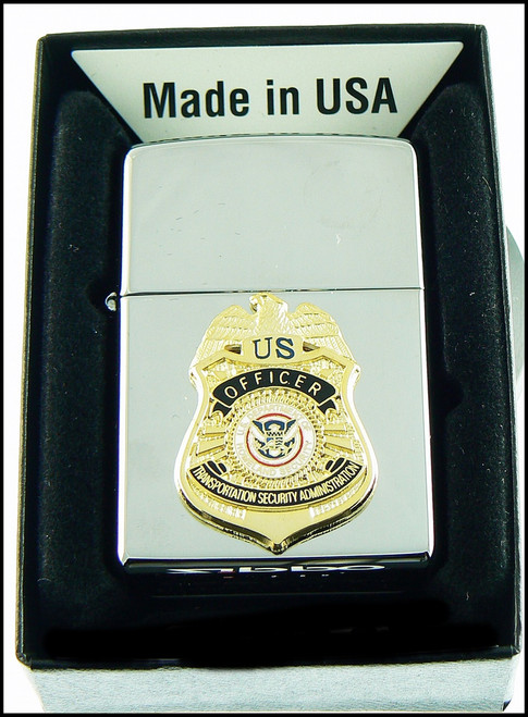 Transportation Security Administration Chrome Cigarette Lighter with TSA Officer Mini Badge