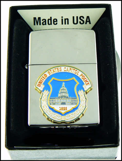 Capitol Police Mini Patch Cigarette Lighter in Chrome
