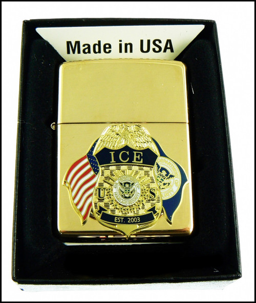 ICE Brass Cigarette Lighter with an ICE Badge and Flags Mini Badge