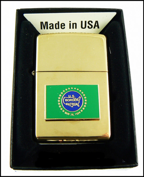US Border Patrol Brass Cigarette Lighter with a BP Flag