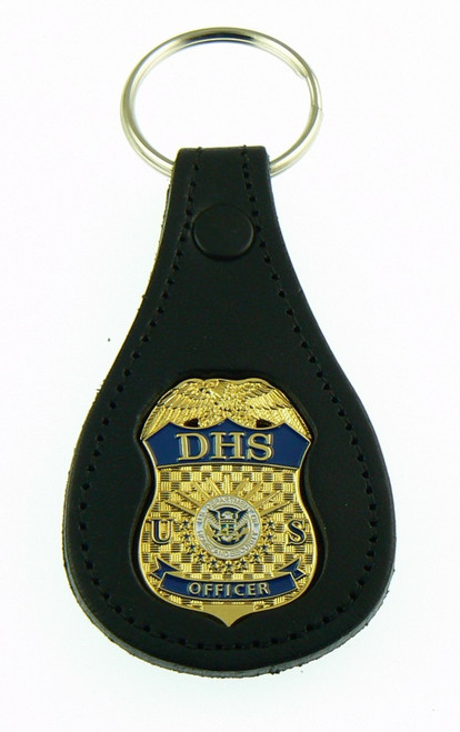 Department of Homeland Security Officer Mini Badge Leather Key Ring