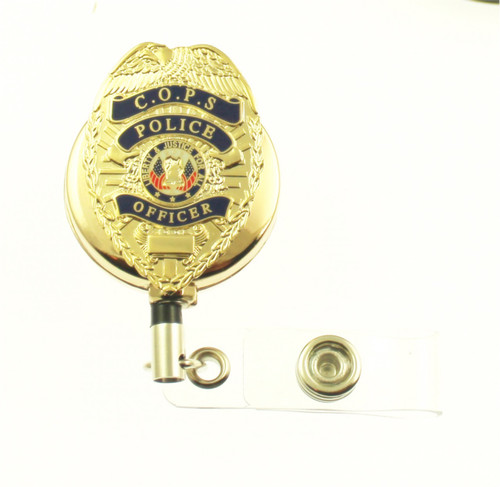 Christian Police Officer Mini Badge Retractable ID Holder in a gold tone ID Reel