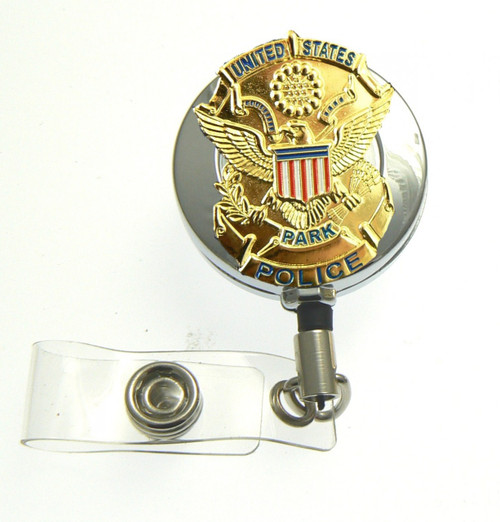 U.S. Park Police Badge Retractable ID Holder in a chrome tone ID Reel
