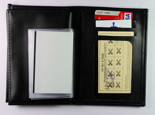 Federal Air Marshal Leather Badge and Credential Wallet - Picture holders and credit card slots