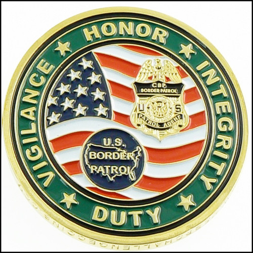 U.S. Border Patrol Honor First Challenge Coin - Back View