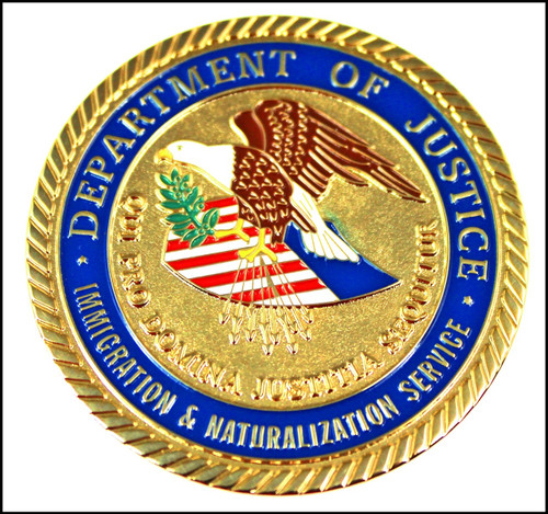 Immigration and Naturalization Service Special Agent Challenge Coin - Back
