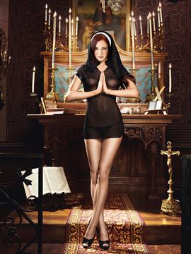 Sexy Nun Dress And Headwear