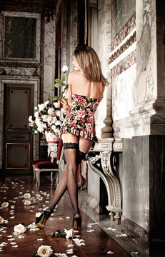 Strapless Chemise With Floral Pattern
