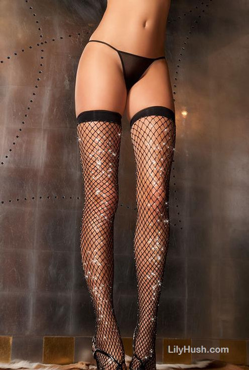 Sparkle Diamond Net Thigh High