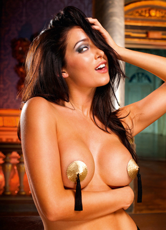 Gold Pasties with Black Tassels