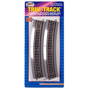 "Atlas 468 True Track Code 83 24"" Radius Curve 4-pack HO"