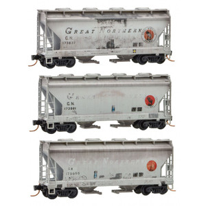 Micro-Trains 092 44 170 Great Northern 2-bay Weathered Covered Hopper 3-pack N scale