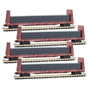 Micro-Trains 993 00 157 BNSF Bulkhead Flat Cars with Load Runner Pack 4-pack N scale