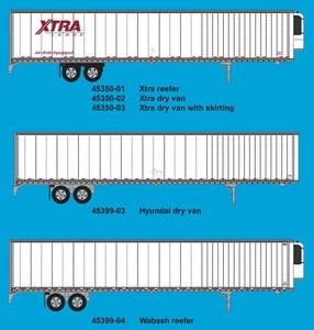 Trainworx 45399-04 Wabash 53' Reefer Trailer N scale