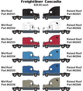 Trainworx 42532 Freightliner Cascadia White Mid Roof N scale