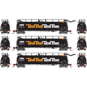 Athearn N 15016 GATX/Early Tank Train A/B ends & Intermediate 3-car set N scale