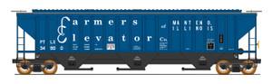 Intermountain 453105-04 Farmers Elevator Co. #34902 4750 CF Rib-Sided 3-bay Hopper NEW Date 12-73 HO