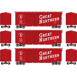 Athearn RTR 16045 Great Northern 40' Double Door Box car 3-pack HO