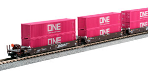 """KATO N scale 106-6195 BNSF Gunderson Maxi-I Double Stack Car with """"ONE"""" Containers #238693 5-car set"""