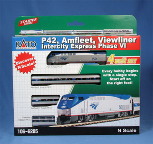 Kato N Scale 106-6285-dcc Amfleet Viewliner Intercity Express P42 & 3 car set DCC equipped