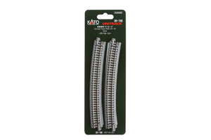 """KATO N scale 20-150 R28 1/4"""" -15 deg. Curved Track 4 pieces"""