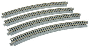 """KATO N scale 20-140 R15"""" - 30 deg. Curved Track 4 pieces"""