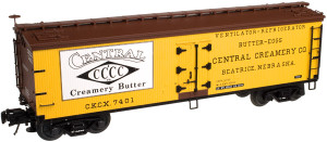 Atlas O 3002512-01 Central Creamery #7400 40' Wood Reefer, 2-rail
