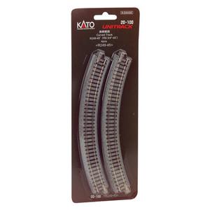 Kato N scale 20-100 Curved Roadbed Track  9-3/4' rad. 45 Degree Unitrack (4 per card)