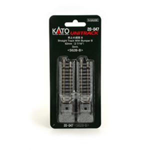 """Kato N scale 20-047 Straight Track with Bumper B 2-7/16"""" Unitrack (2 per card)"""