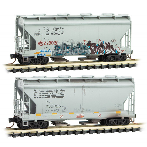 Micro-Trains 092 44 460 NS Norfolk Southern Graffiti Hopper 2-pack N scale