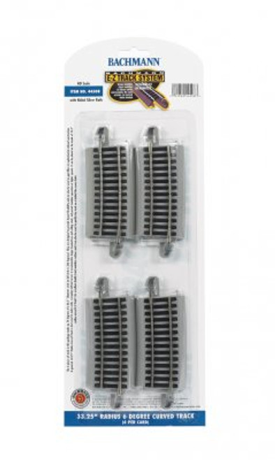"Bachmann HO 44508 33.25"" r. 6 Degree Curved Track (4 per card) Code 100"