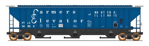 Intermountain 453105-06 Farmers Elevator Co. #34904 4750 CF Rib-Sided 3-bay Hopper NEW Date 12-73 HO