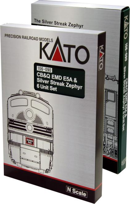 Kato N Scale 106-090 CB&Q EMD E5A & Silver Streak Zephyr 6-unit set