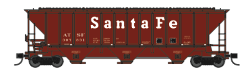 "Trainworx 24425-15 ATSF ""Santa Fe"" early 80's repaint PS2CD high side covered hopper N scale #309981"