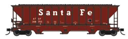 "Trainworx 24425-17 ATSF ""Santa Fe"" mid 80's repaint PS2CD high side covered hopper N scale #309244"