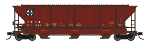 """Trainworx 24425-12 ATSF """"As Delivered"""" 1971 PS2CD high side covered hopper N scale #311782"""