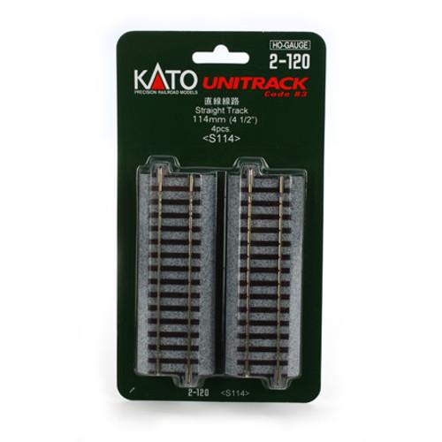 """Kato 2-120 4 1/2"""" 114mm Straight Uni-Track HO 4-pack"""