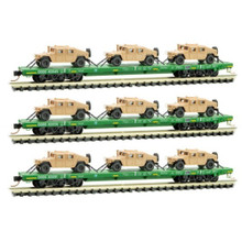 """MICROTRAINS MTL 993 01 810 DODX /""""OLIVE DRAB/"""" 3 PACK WITH HUMVEES N SCALE"""