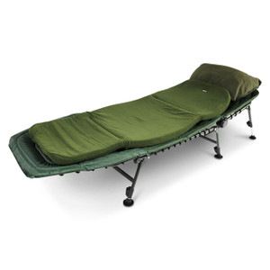 Abode Bedchair, Contoured Memory Foam Mattress Topper, Carp Fishing Camping Bed & Pillow
