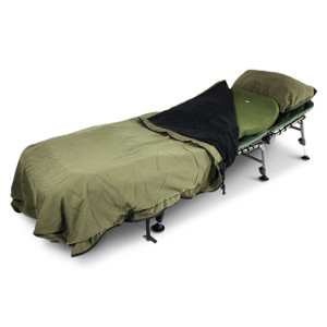Abode Bedchair, Contoured Memory Foam Mattress Topper, Carp Fishing Camping Bed Cover & Pillow