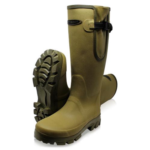 Dirt Boot Neoprene lined Gamekeeper Wellington Muck Field Gusset Boots Khaki