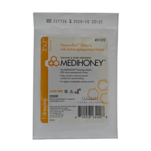 Derma Sciences 31222 Honeycolloid Non-Adhesive Medihoney Wound Dressing