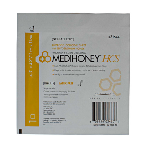 Derma Sciences 31644 Medihoney Hydrogel Colloidal Sheet, Leptospermum Dressing
