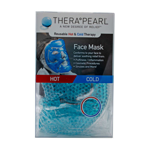 TheraPearl TP-RFM1 Full Face Mask with Strap, Reusable Hot & Cold Therapy with Gel Beads